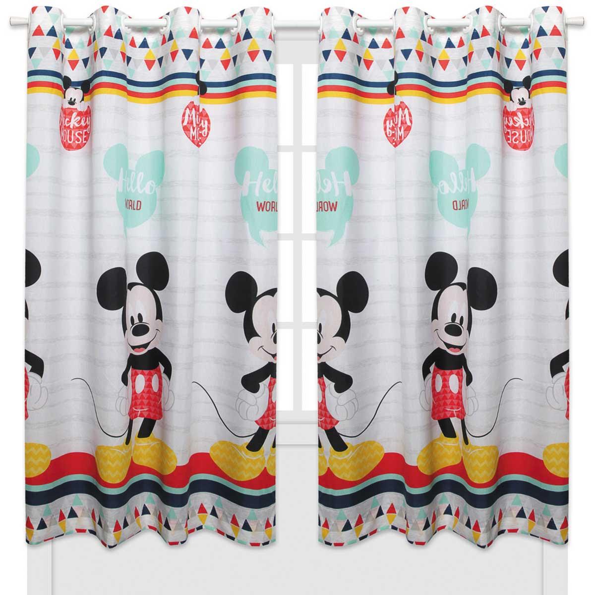 Kit Infantil Menino Mickey Geo Disney Jogo De Cama + Cortina Santista