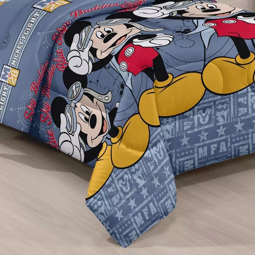 Kit Infantil Mickey Aviador Cortina Blackout + Edredom Santista