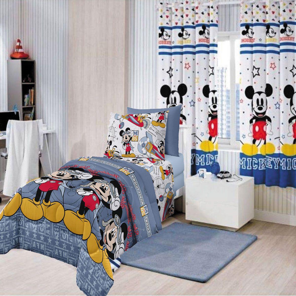 Kit Infantil Mickey Aviador Cortina Blackout + Jogo de cama Santista