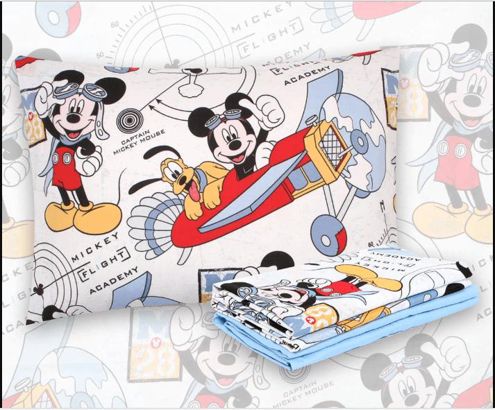 Kit Infantil Mickey Aviador Edredom + Jogo De Cama Santista