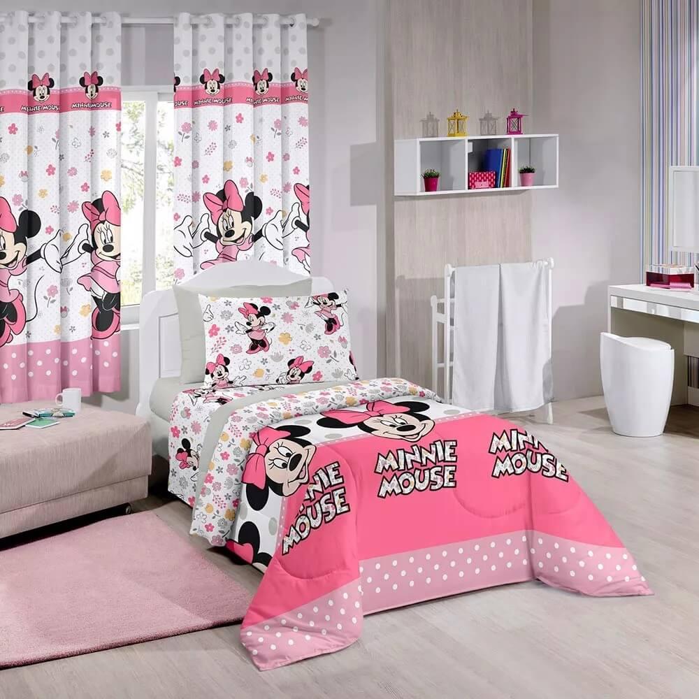 kit Infantil Minnie Happy Edredom + Cortina Santista