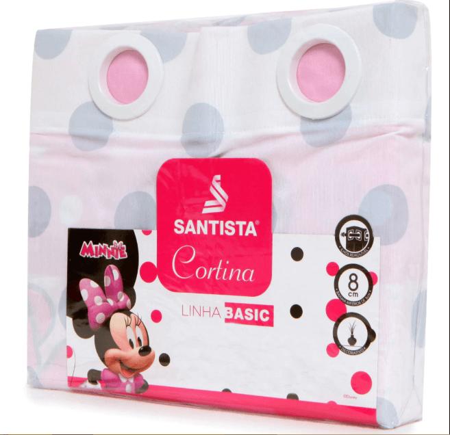 kit Infantil Minnie Happy Edredom + Jogo de Cama + Cortina Blackout Santista