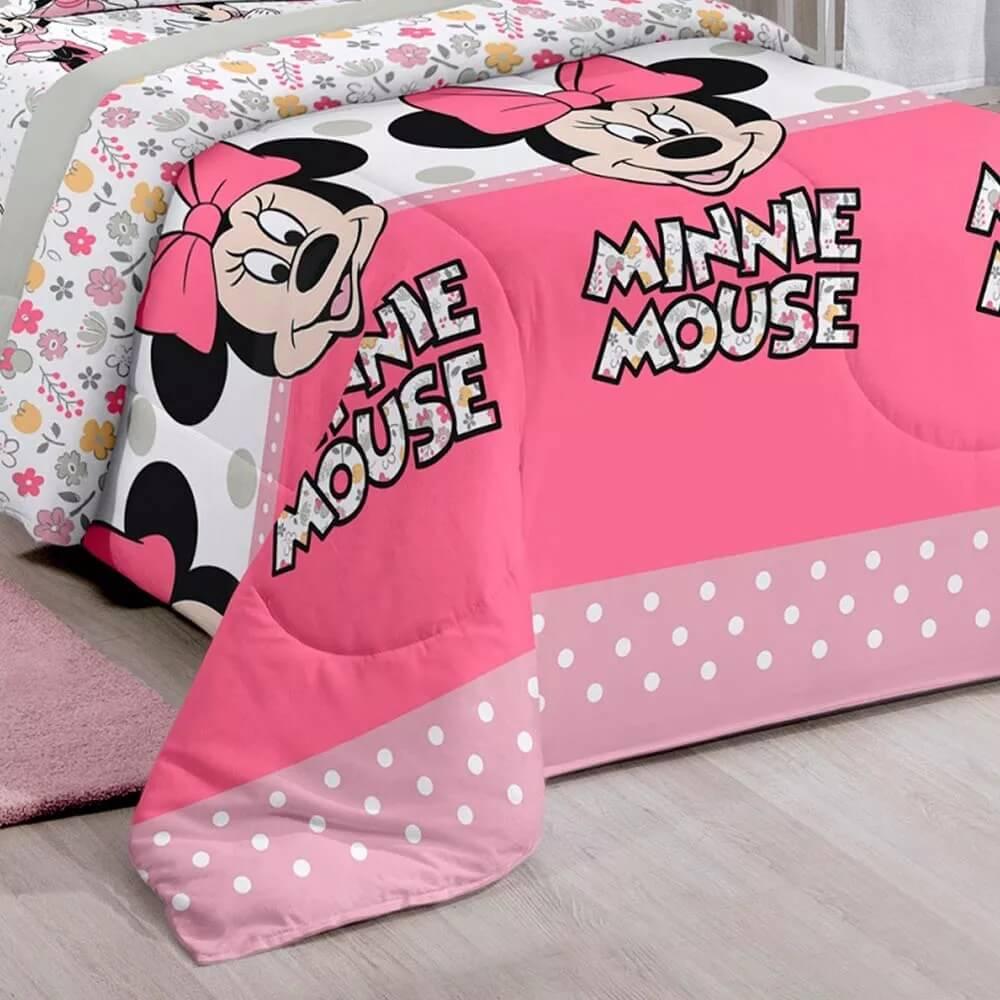 kit Infantil Minnie Happy Edredom + Jogo de Cama + Cortina Santista