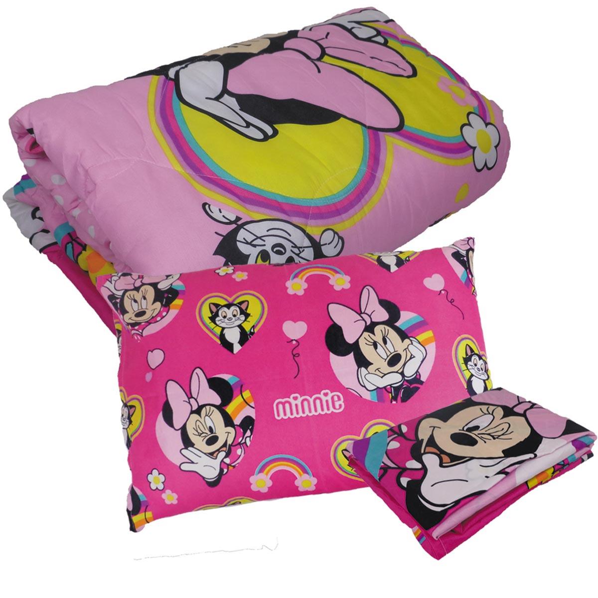 Kit Infantil Minnie Mouse Menina Rosa Edredom + Jogo De Cama Lepper