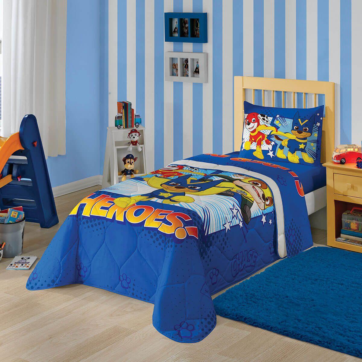Kit Infantil Patrulha Canina Azul Edredom + Cortina Lepper