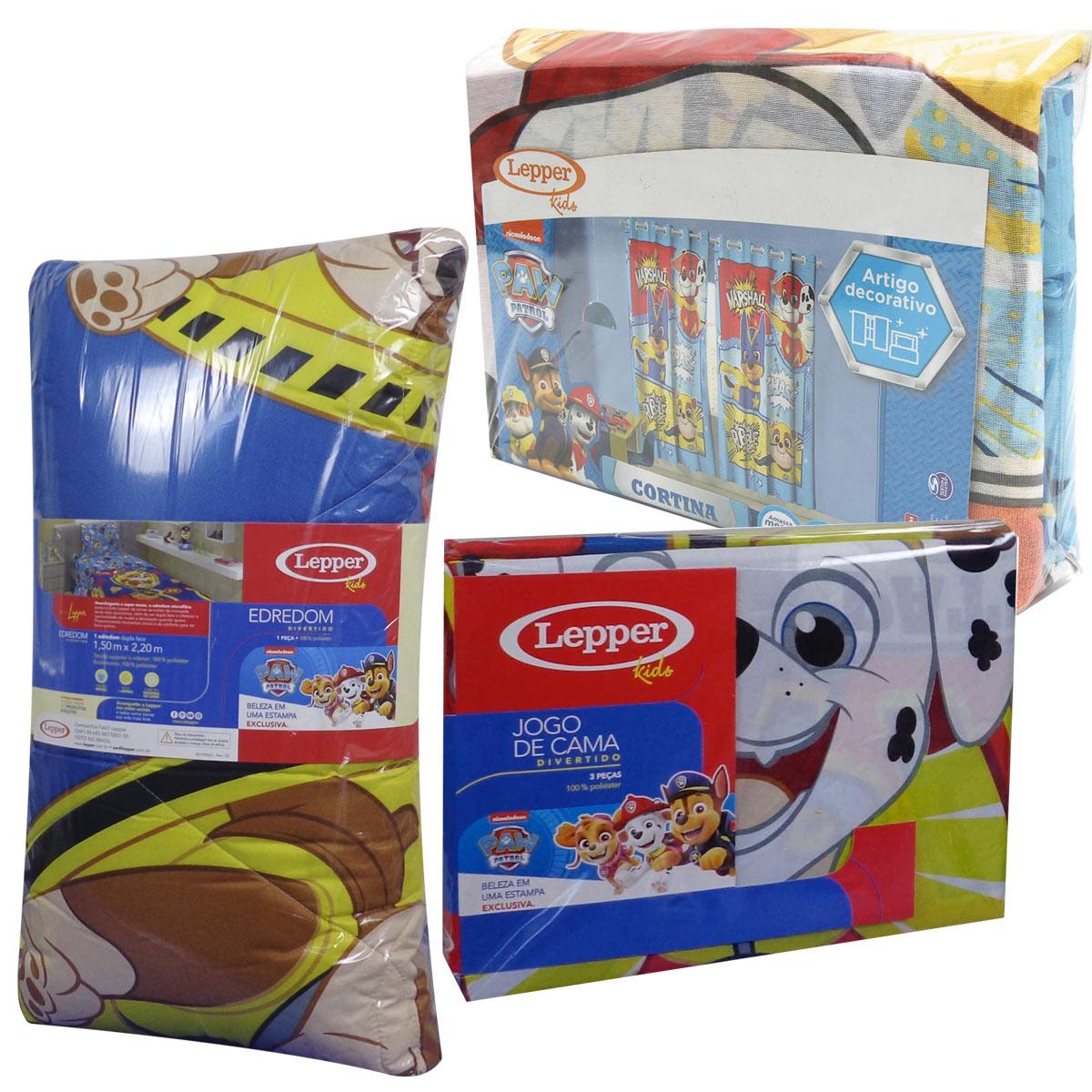 Kit Infantil Patrulha Canina Cortina + Jogo De Lençol + Edredom Lepper