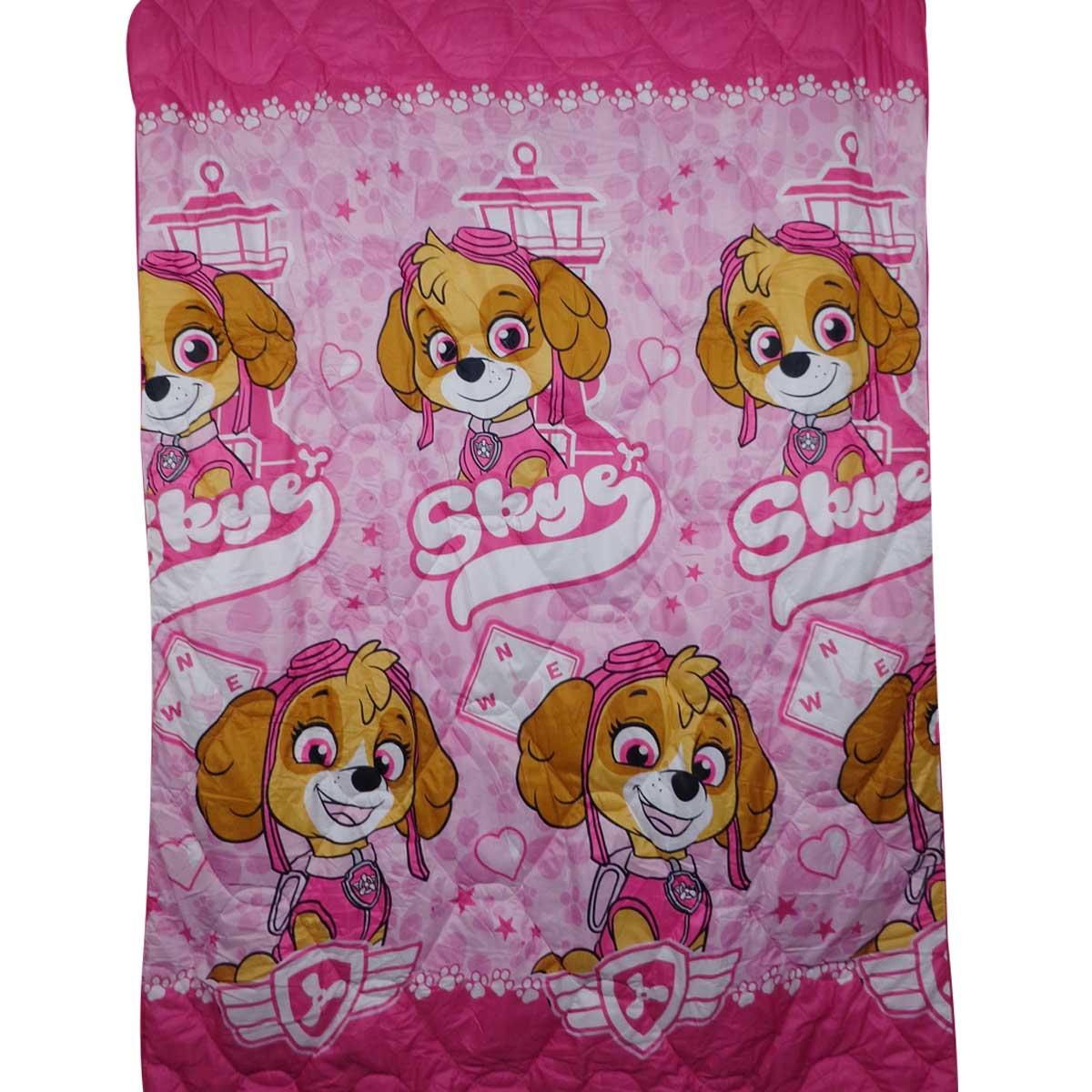 Kit Infantil Patrulha Canina Menina Rosa Jogo De Cama + Edredom Lepper