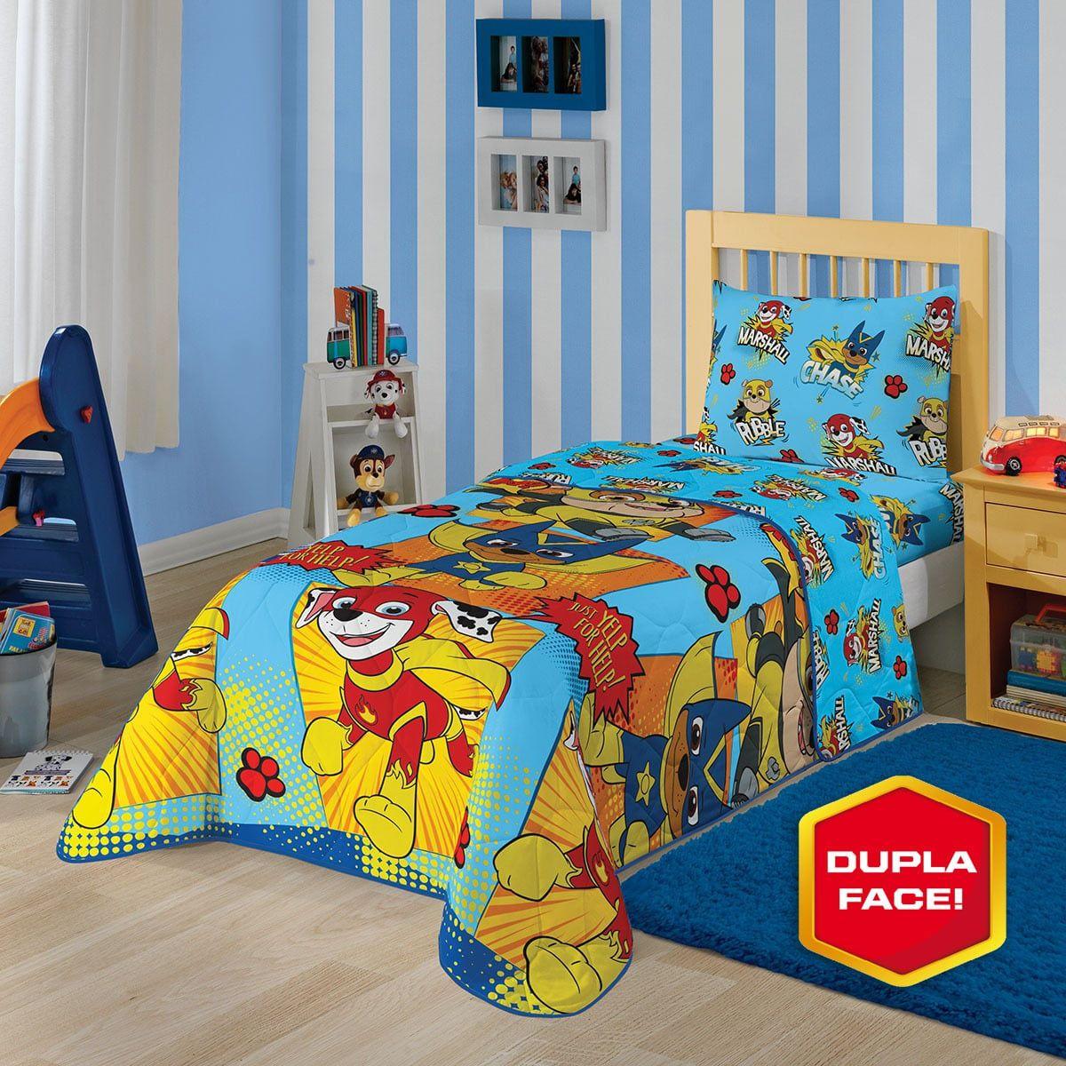 Kit Infantil Patrulha Canina Menino Edredom + Cortina + Jogo De Cama Lepper