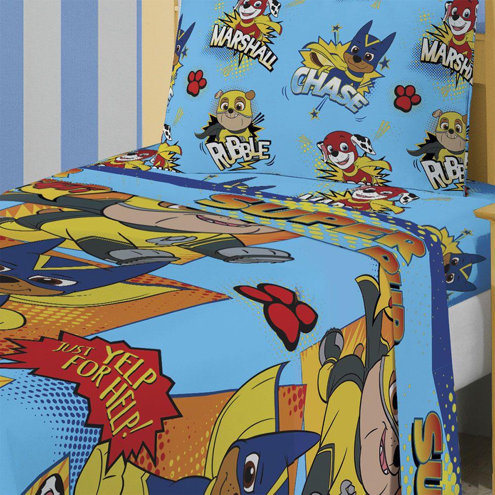 Kit Infantil Patrulha Canina Menino Jogo De Cama + Cortina Lepper