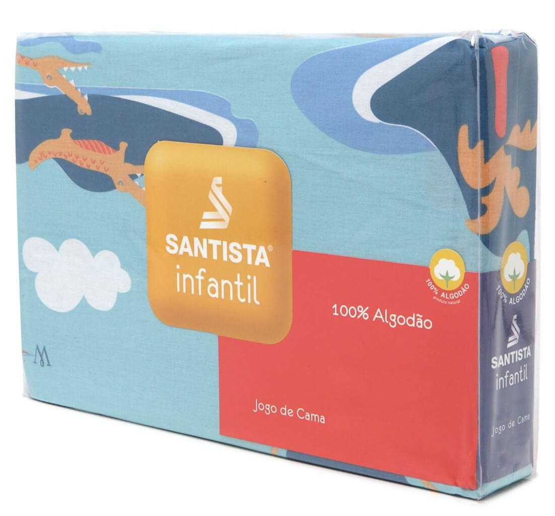 Kit Infantil Pirata Jogo De Cama + Cortina Com Forro Blackout Santista