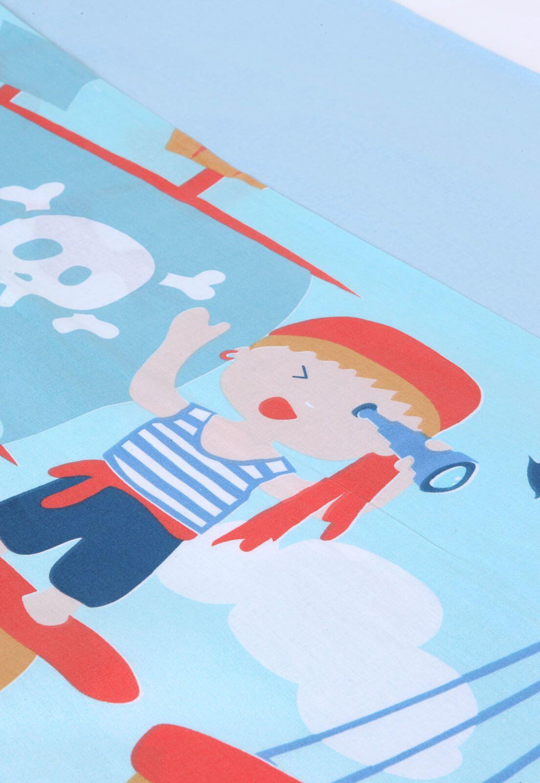 Kit Infantil Pirata Colcha Boutis + Cortina + Jogo Cama Santista