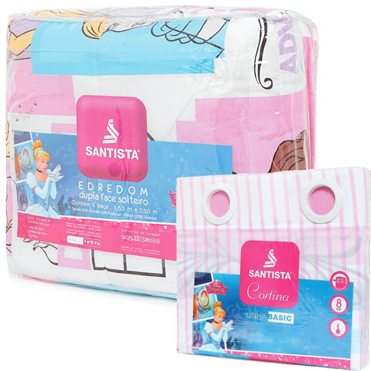 Kit Infantil Princesas Power Disney Edredom + Cortina Blackout Santista