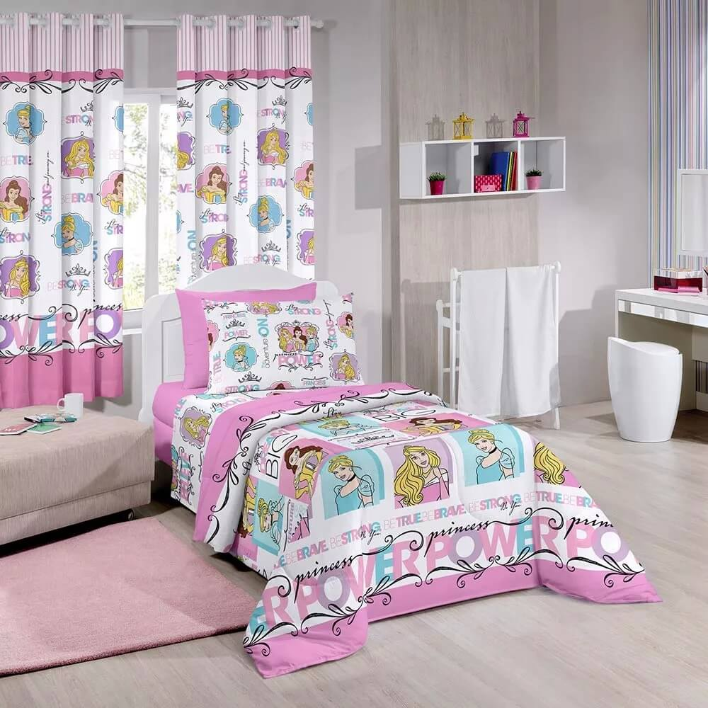 Kit Infantil Princesas Power Disney Edredom + Cortina Santista