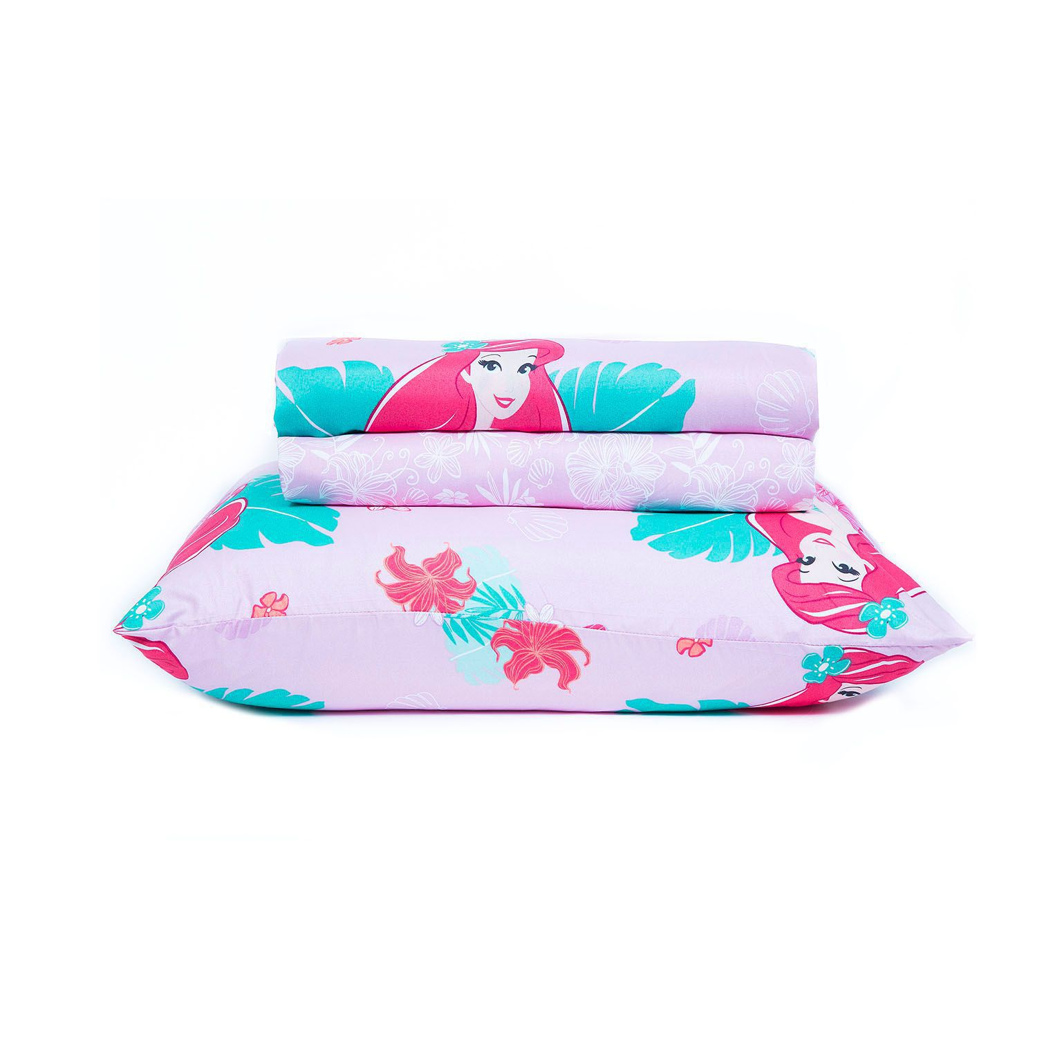 Kit Infantil Rosa Ariel Pequena Sereia  Jogo Cama + Cortina Santista
