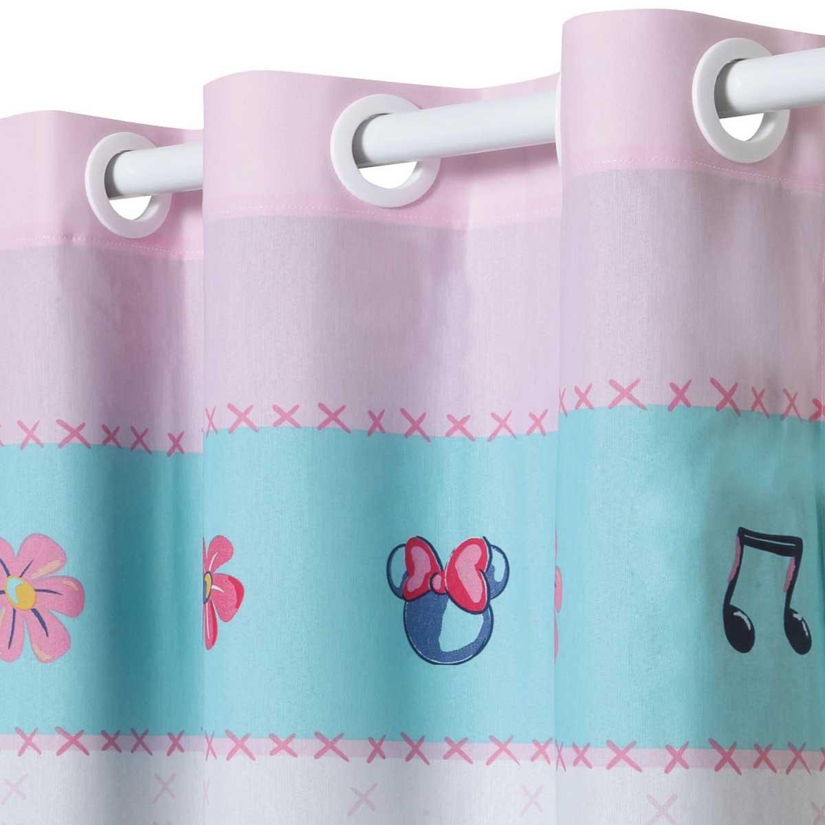 Kit Infantil Rosa Minnie Kitsch Jogo De Cama + Cortina Santista
