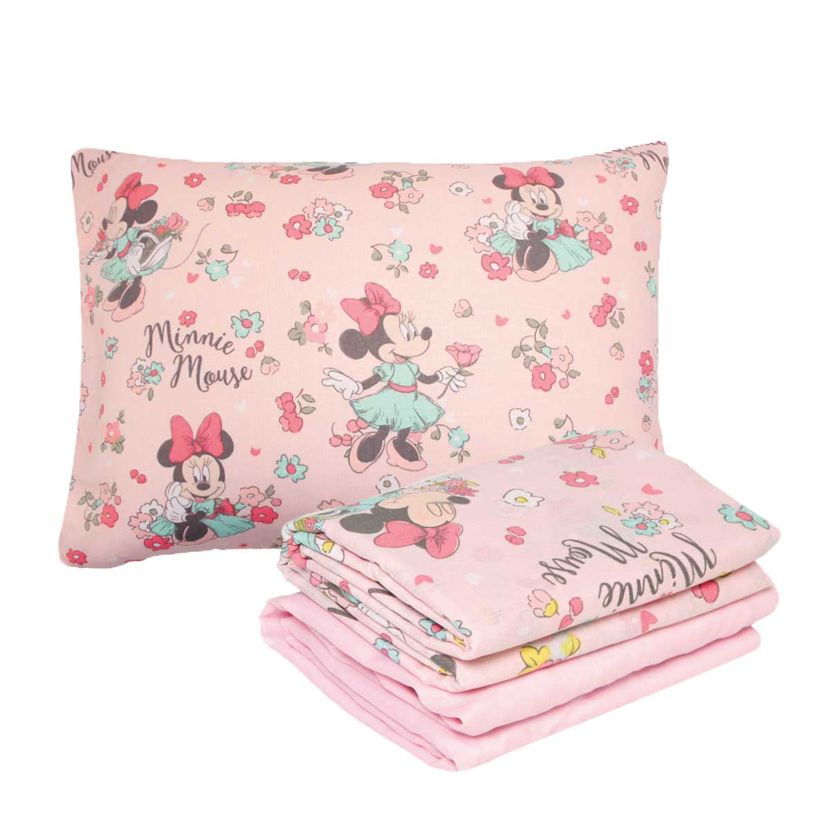 Kit Infantil Rosa Minnie Libert Cortina + Jogo De Cama Santista