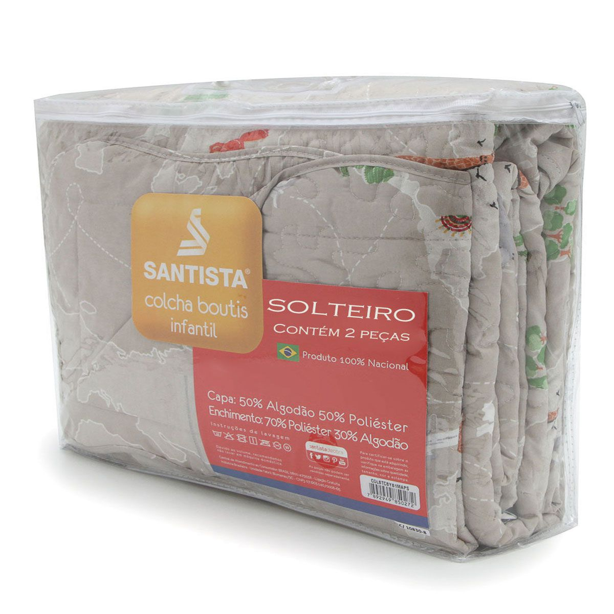 Kit Infantil Safari Maps Colcha + Cortina Com Forro Blackout Santista
