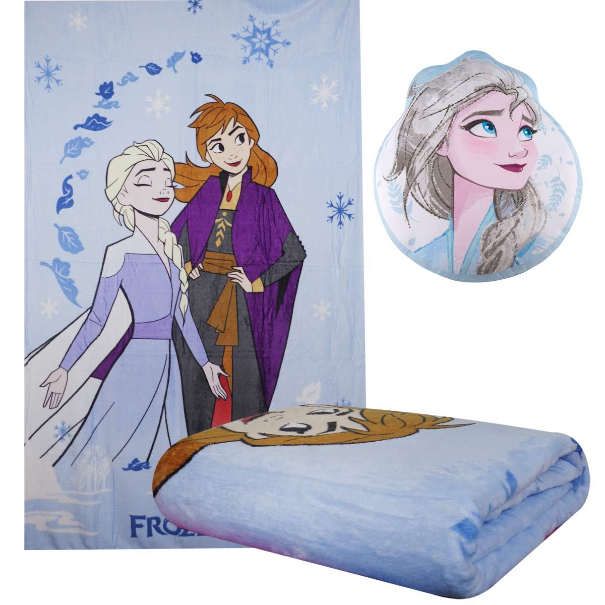 Kit Manta Infantil Frozen Super Soft Fleece + Almofada Transfer Anna / Elsa Lepper