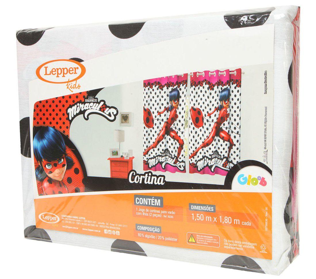 Kit Miraculous Ladybug Edredom + Cortina + Jogo De Cama Lepper