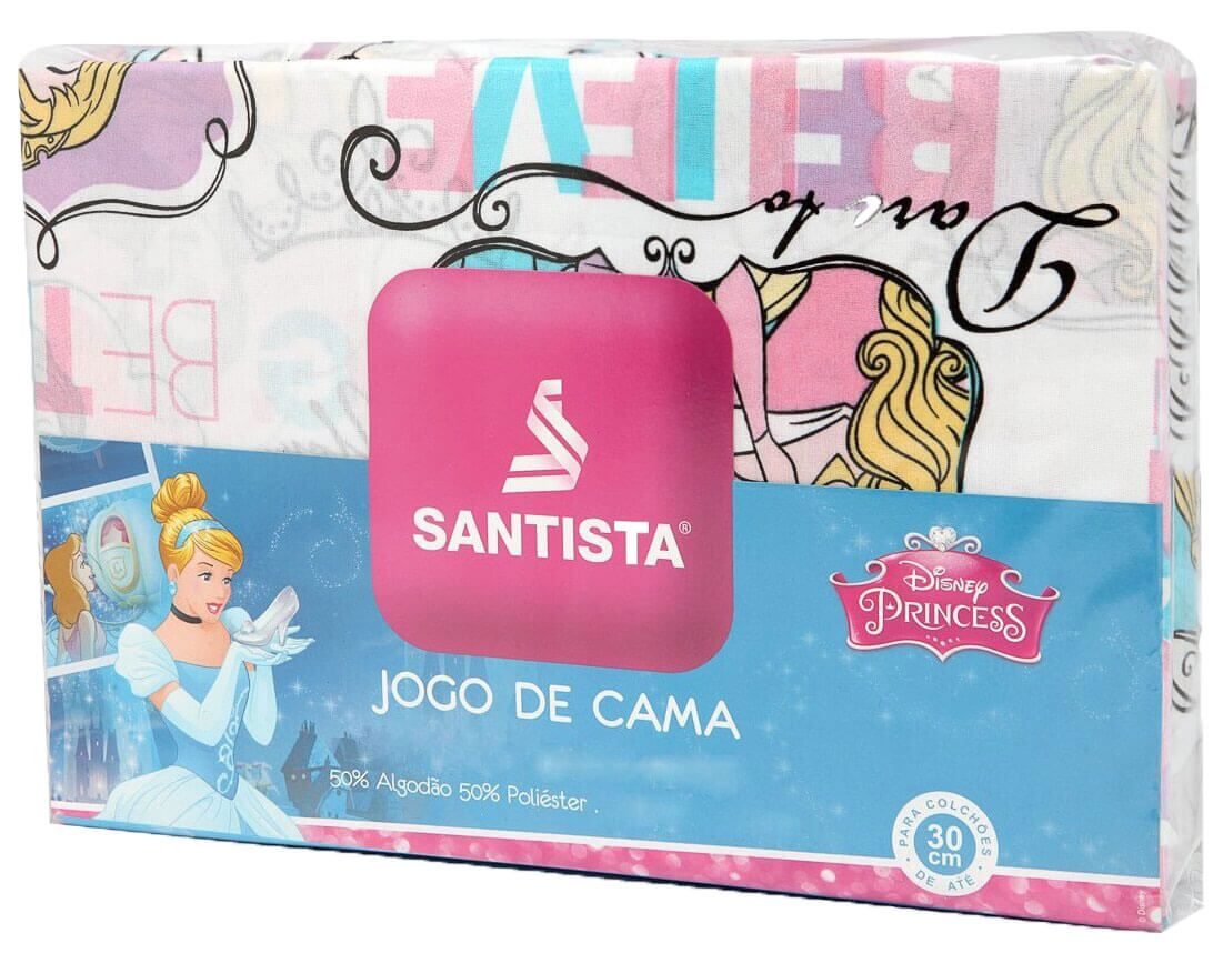 Kit Princesa Bela Power Cortina Corta Luz + Jogo Cama Santista