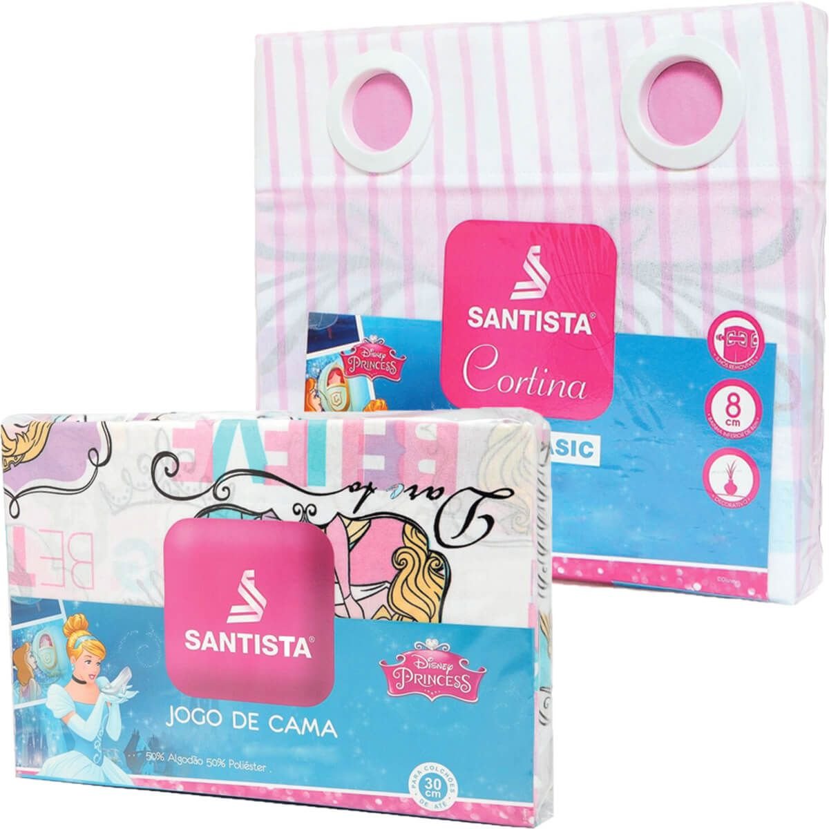 Kit Princesa Bela Power Cortina + Jogo Cama Santista