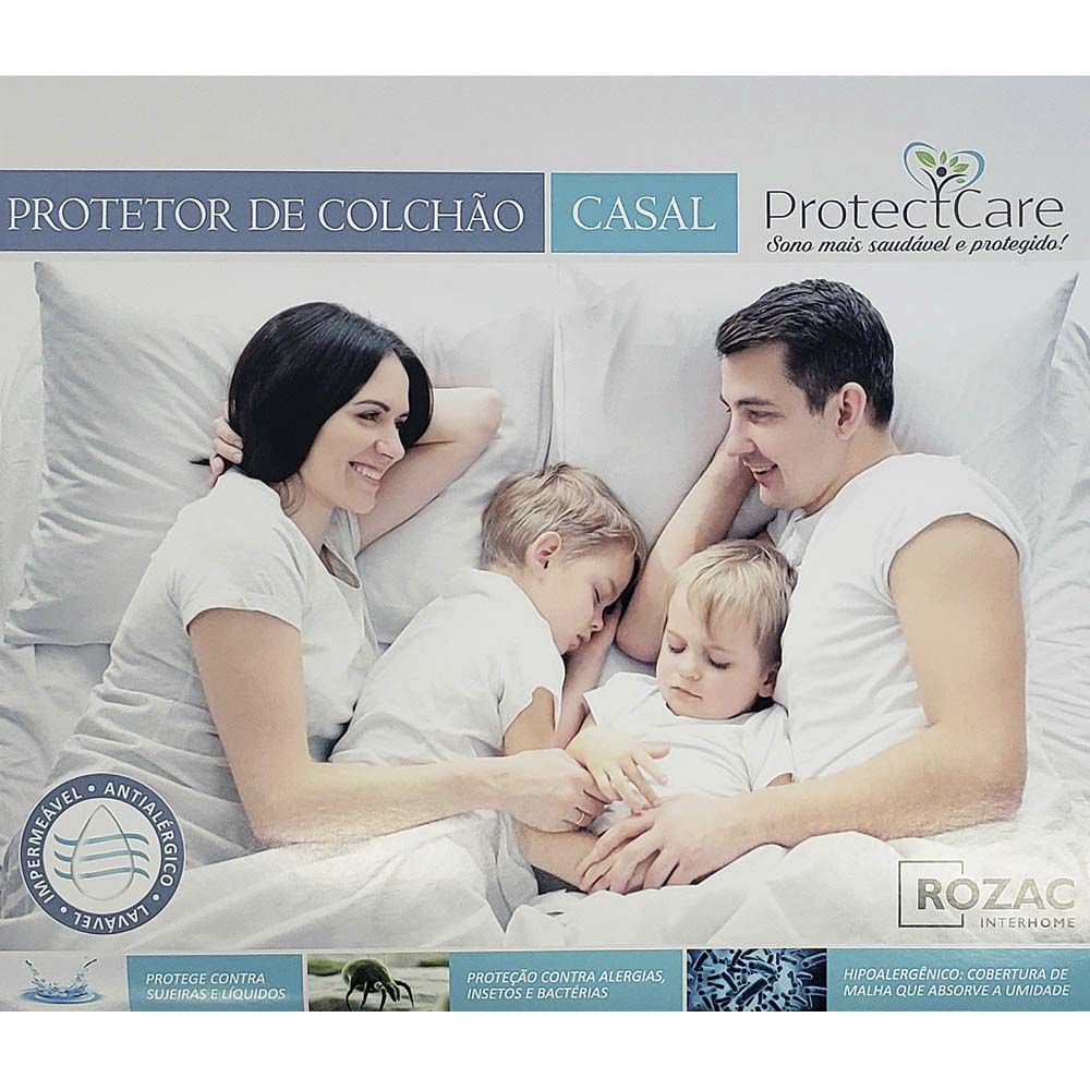 Kit Protetor De Colchão Casal + Fronha Tecido Malha Impermeável Protect Care Rozac Antialérgico