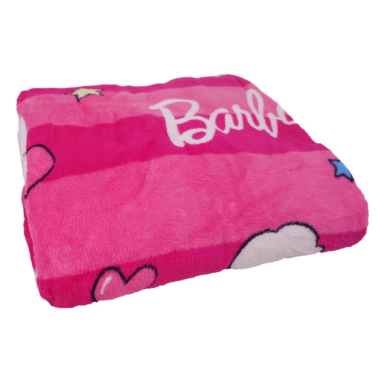 Manta Almofada Infantil Barbie Rosa Menina Microfibra Jolitex