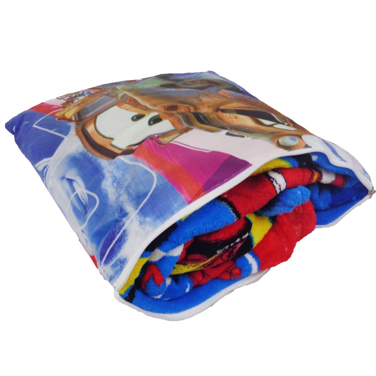 Manta Almofada Infantil Carros Azul Menino Microfibra Jolitex