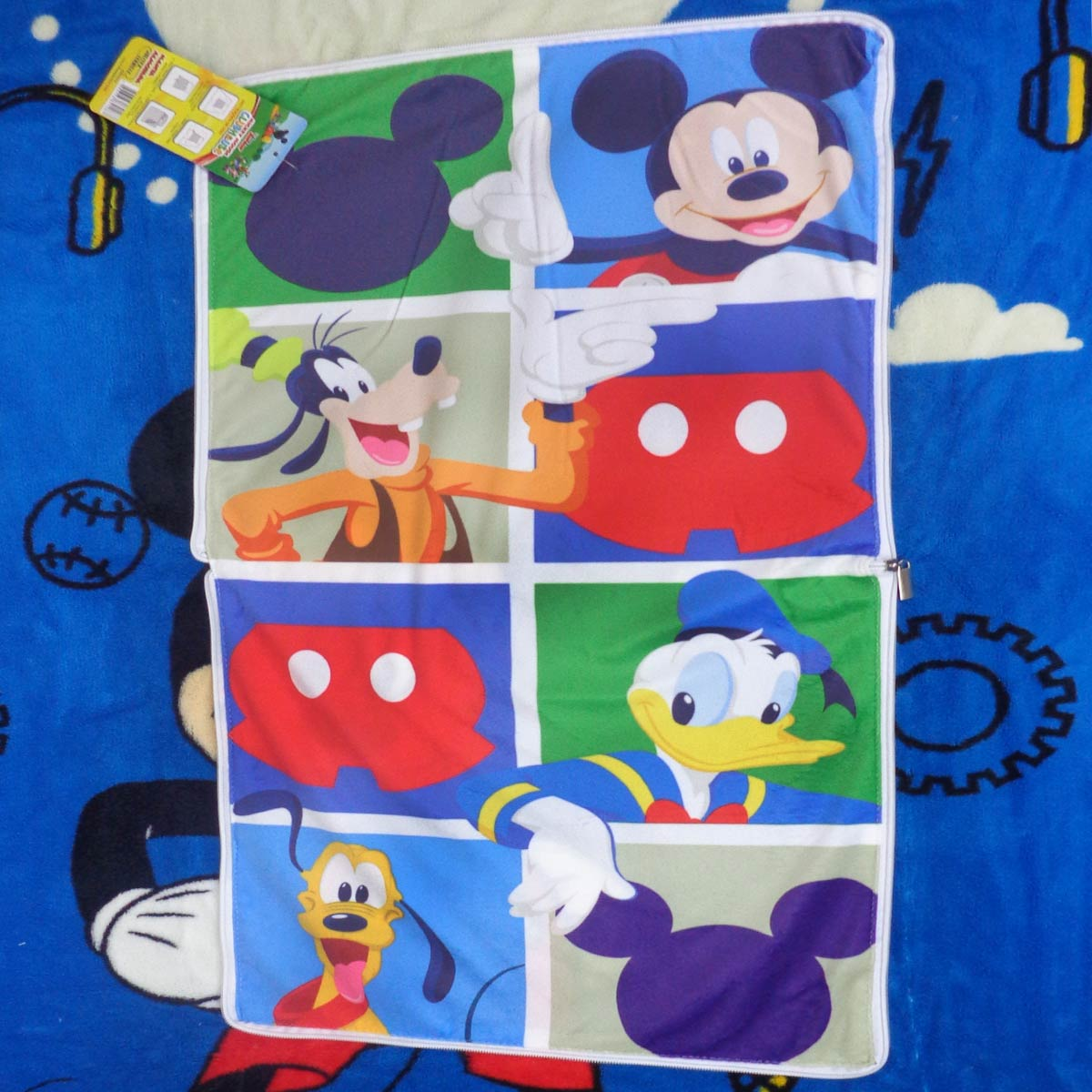 Manta Almofada Infantil Mickey Mouse Azul Menino Microfibra Jolitex