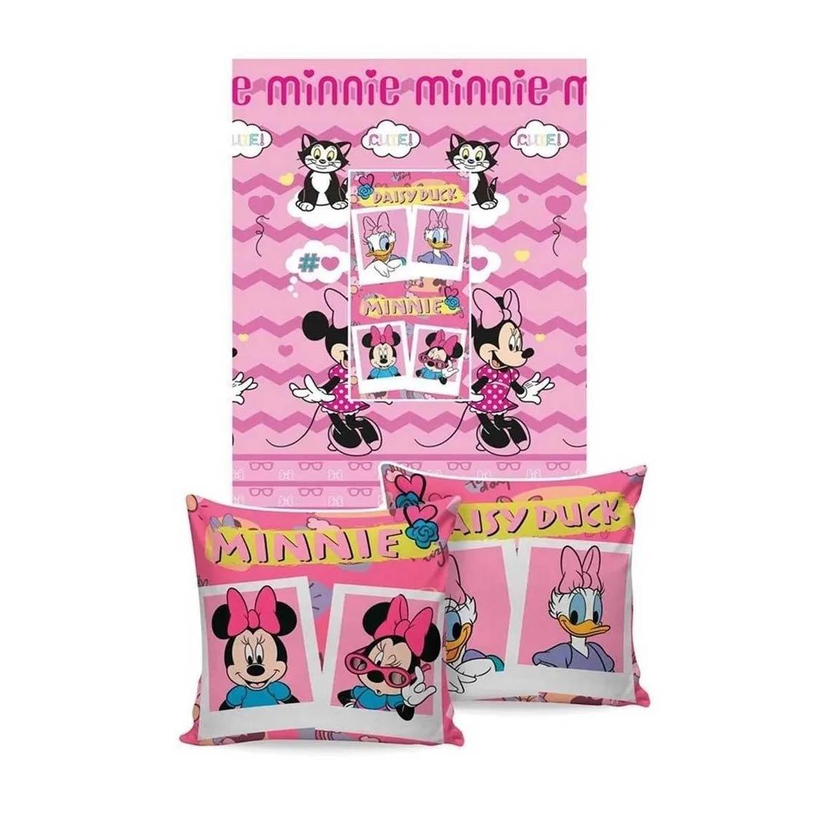 Manta Almofada Infantil Minnie Mouse Rosa Menina Microfibra Jolitex