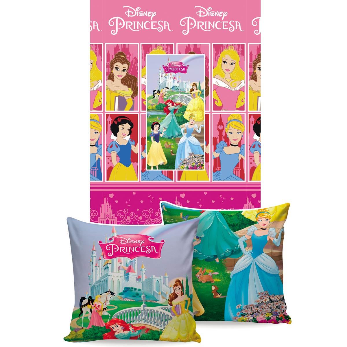 Manta Almofada Infantil Princesas Disney Rosa Menina Microfibra Jolitex