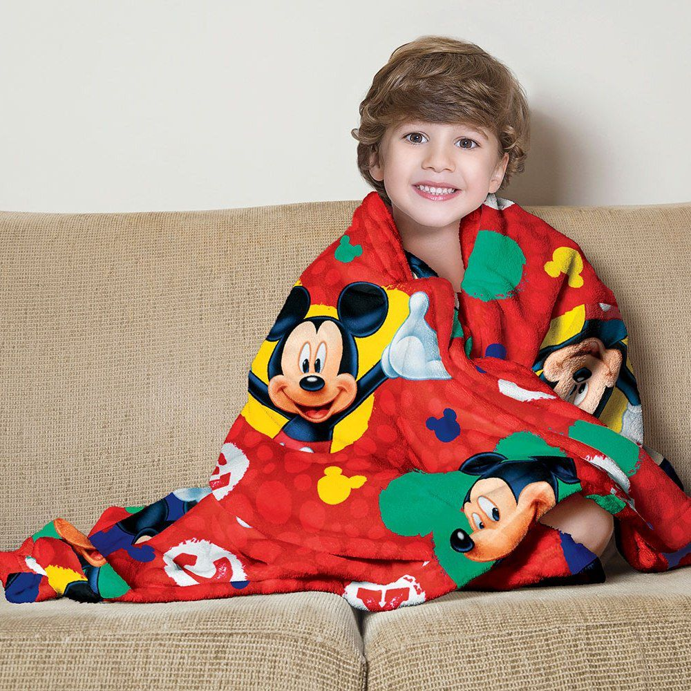 Manta Infantil Mickey Vermelho Super Soft Fleece Lepper