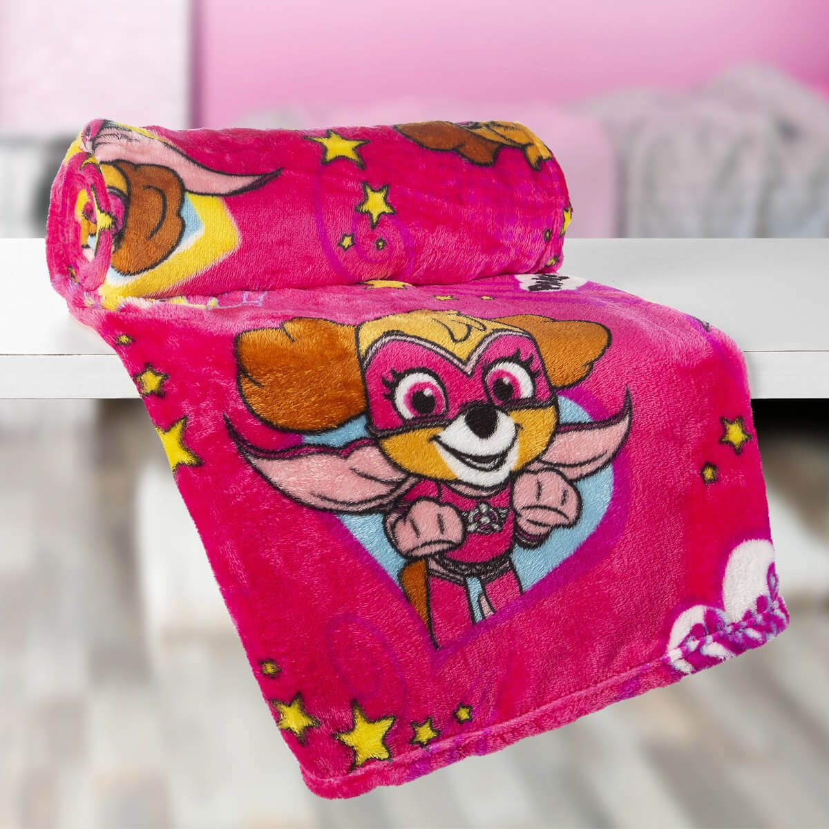 Manta Infantil Patrulha Canina Rosa Super Soft Fleece Lepper