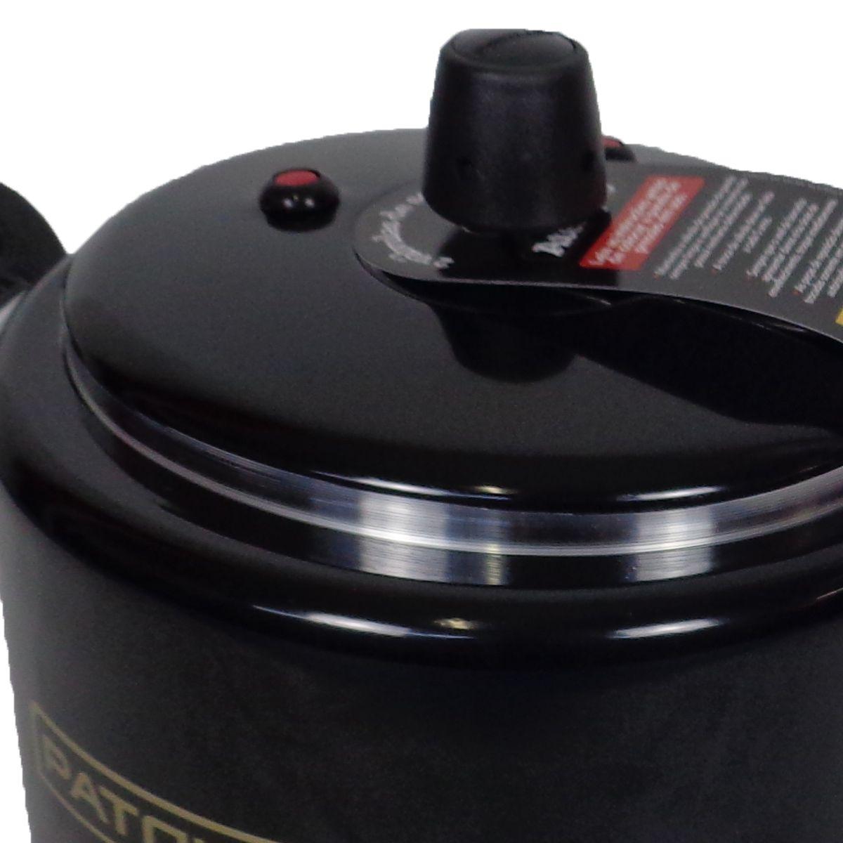 Panela De Pressão Preta 5 Litros Reforçada 2 Válvulas segurança Patolux