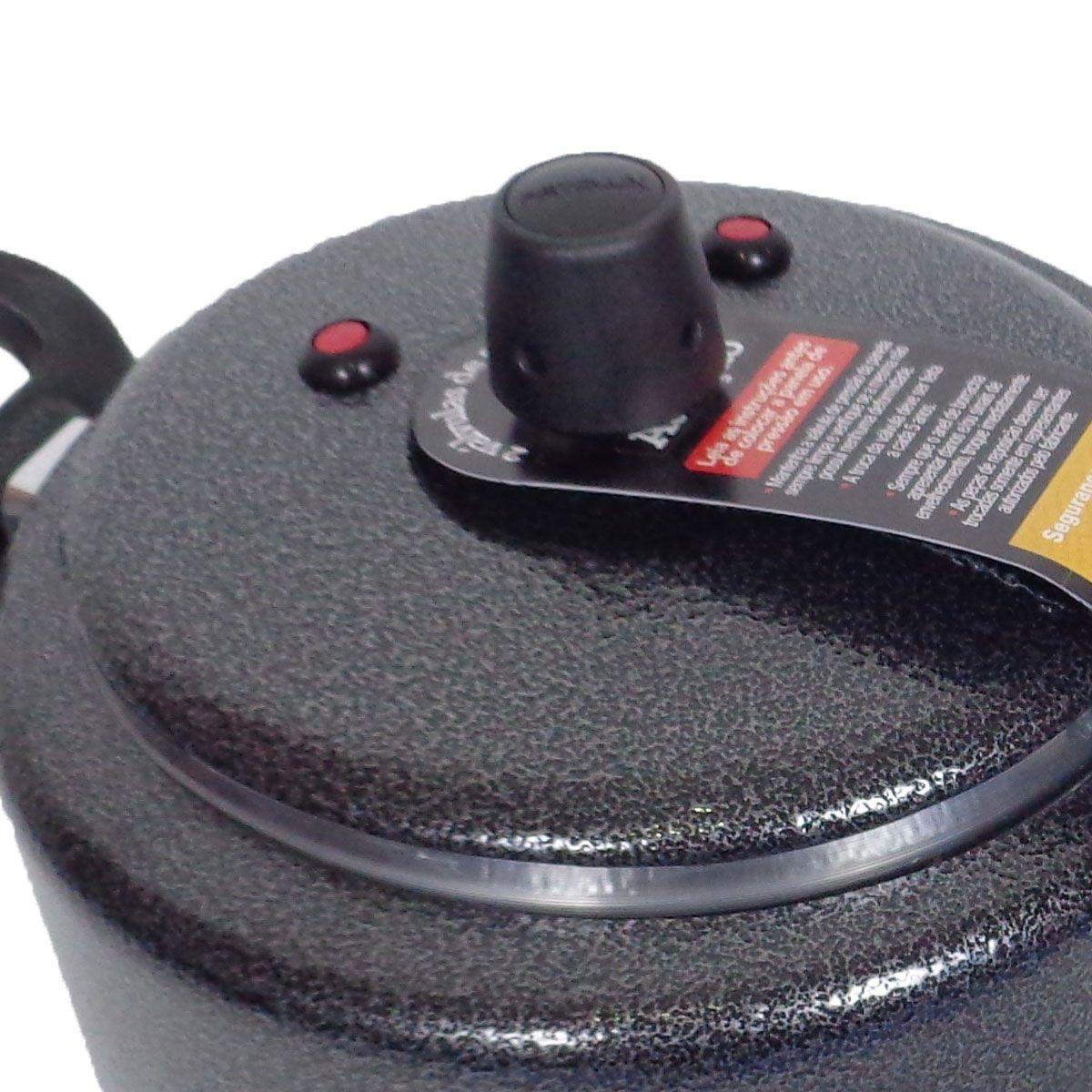 Panela De Pressão Preto Craquelado 5 Litros Reforçada 2 Válvulas segurança Patolux