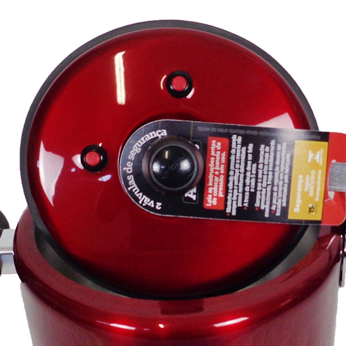 Panela De Pressão Vermelha 5 Litros Reforçada 2 Válvulas segurança Patolux