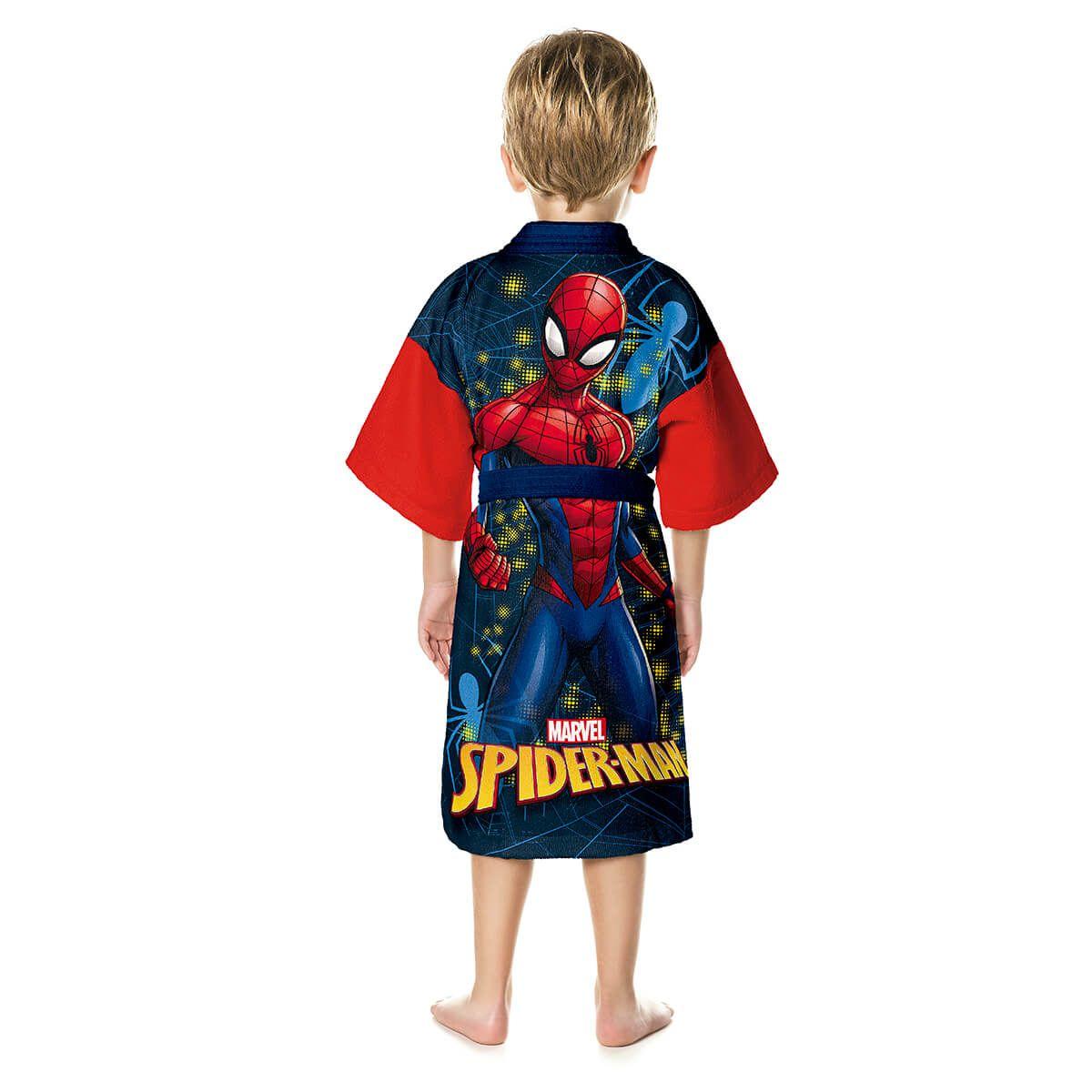 Roupão Infantil Homem Aranha Aveludado Spider Man Quimono Bordado Lepper