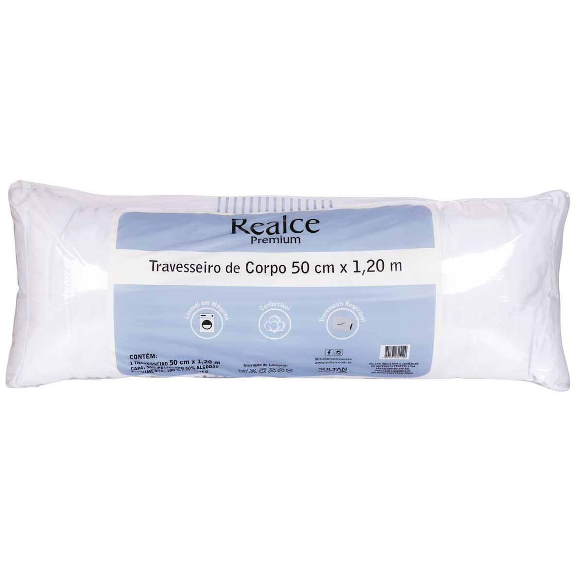 Travesseiro Corpo Grande 50cm x 1,20m Realce Premium Sultan