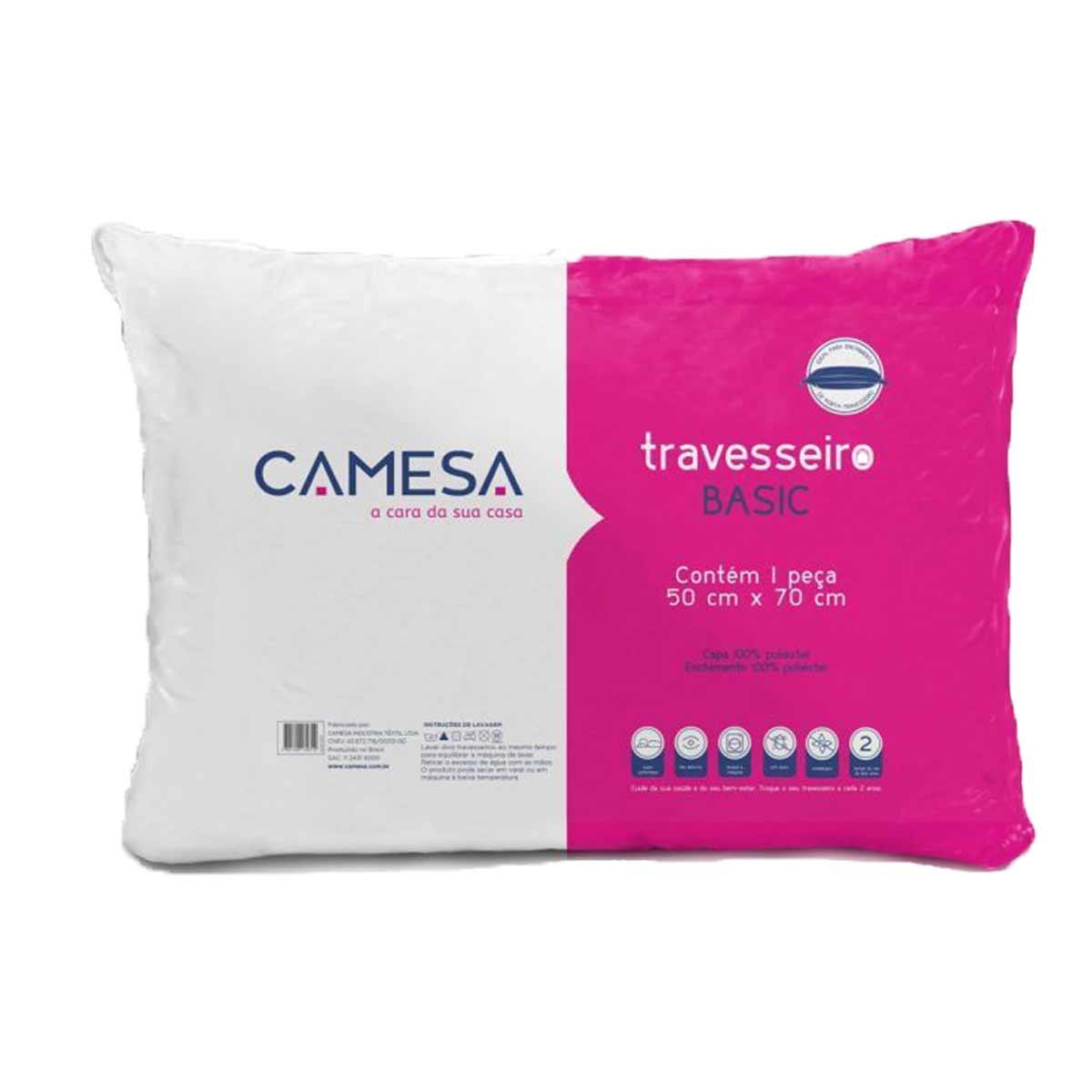 Travesseiro Modelo Básico Antialérgico 50 x 70 Camesa