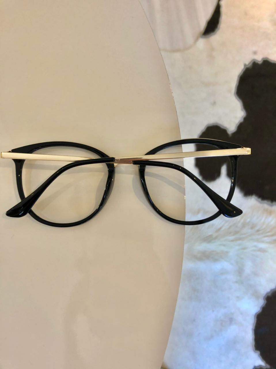 Armação De Óculos Redondo Preto Linda