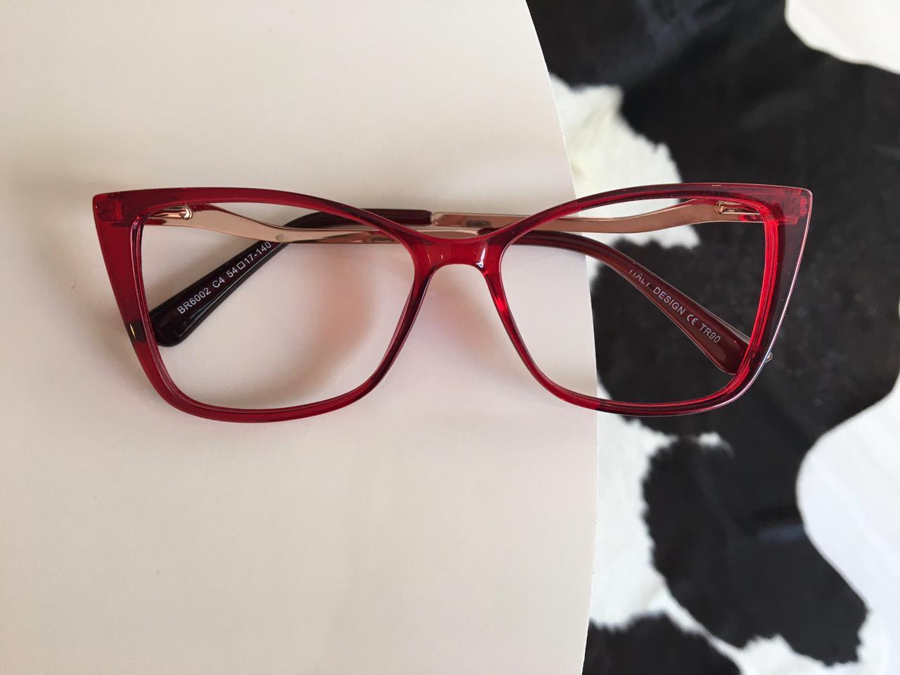 Armação Óculos de Grau Gisele Bundchen  Quadrada Vermelha