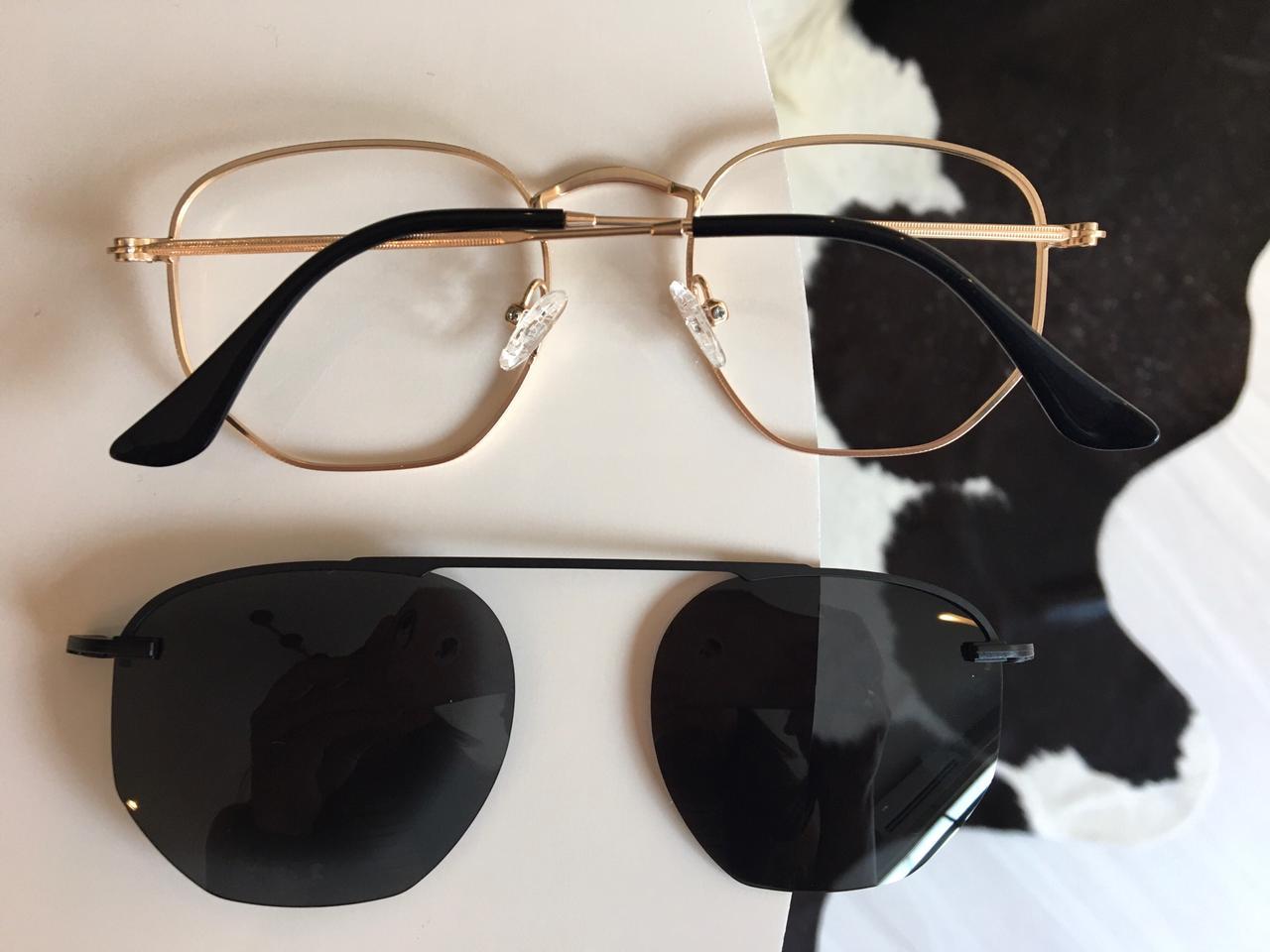 Armação Óculos De Grau Hexagonal Dourado Clipon 2 em 1 Yasmin