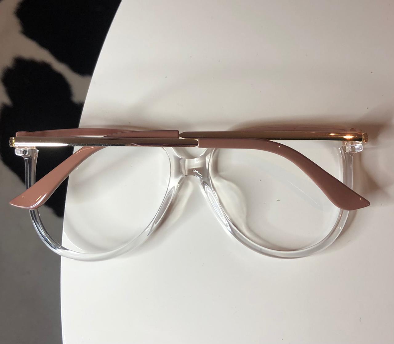 Armação Óculos de Grau Lia Transparente com Nude
