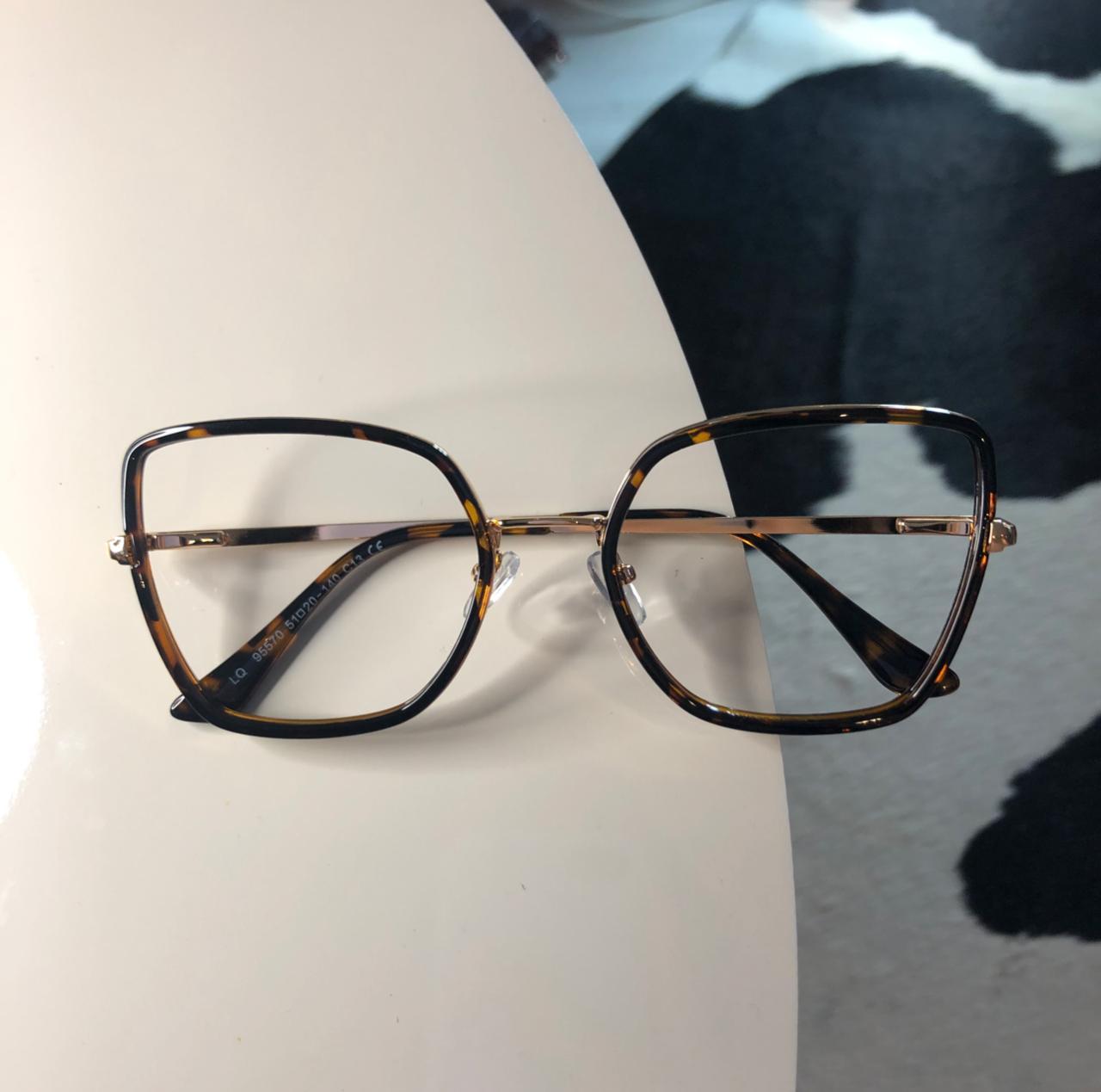 Armação Óculos De Grau Quadrado Rafaela Oncinha