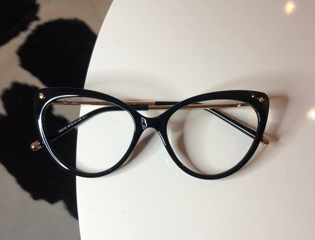 Óculos de Grau Gatinho Valentina Preto