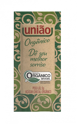 AÇÚCAR CRISTAL ORGÂNICO UNIÃO SACHÊ 5G CAIXA 400 UNIDADES
