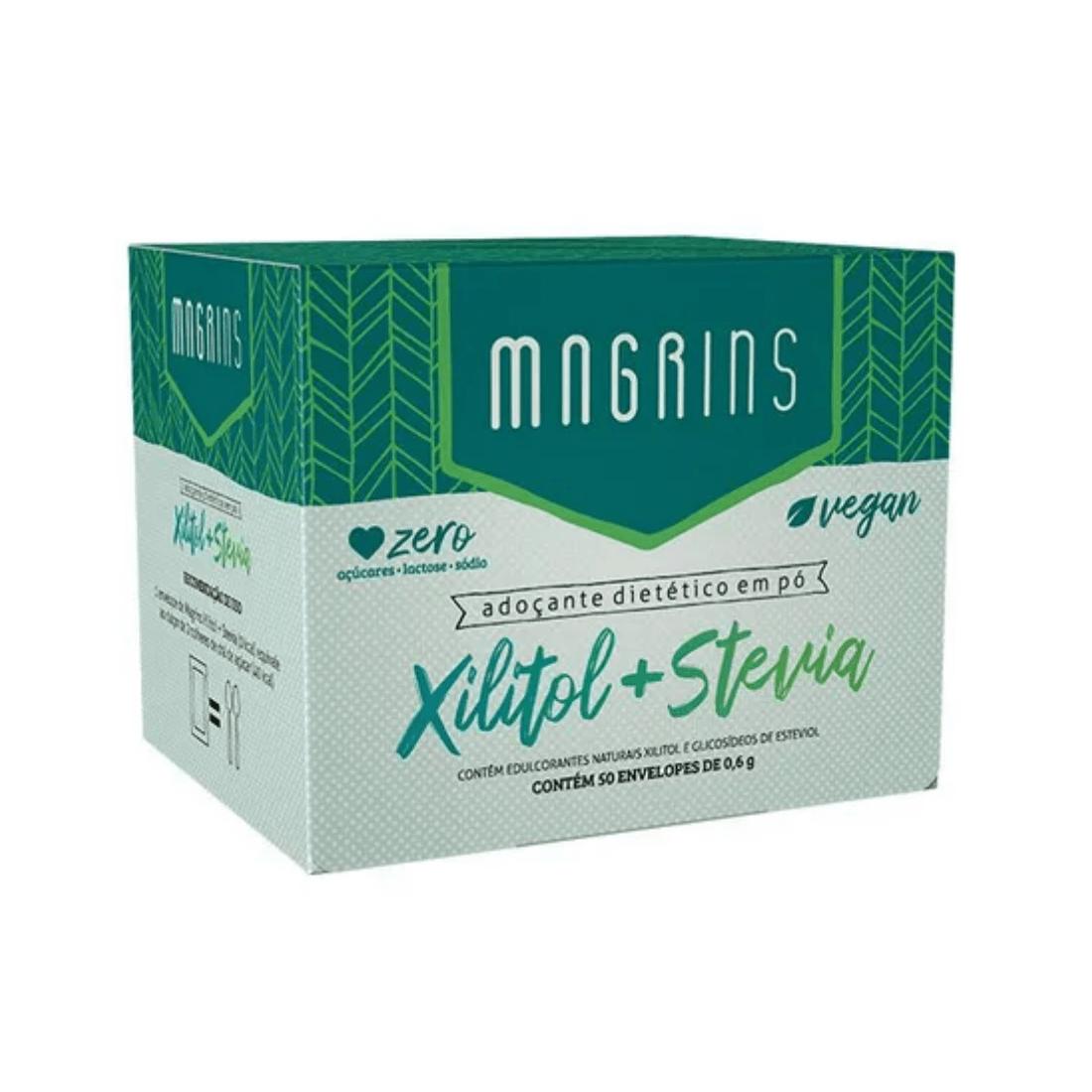 ADOÇANTE XILITOL COM STEVIA MAGRINS SACHÊ 0,6G CAIXA 50 UNIDADES