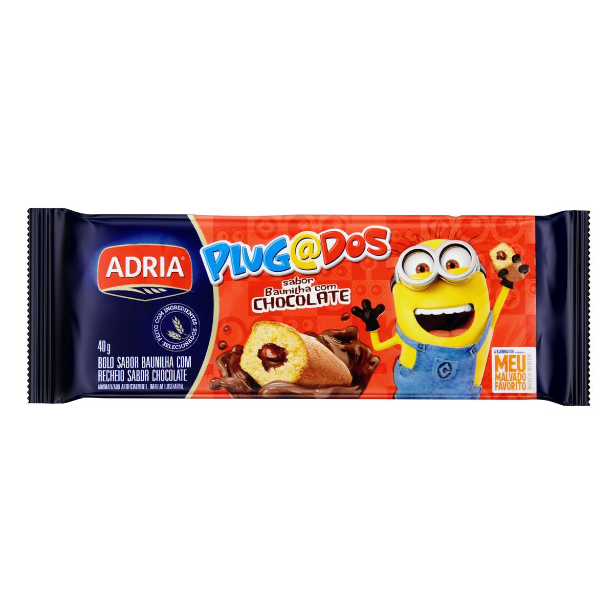 BOLINHO BAUNILHA C/ CHOCOLATE PLUGADOS ADRIA 40G 12UN