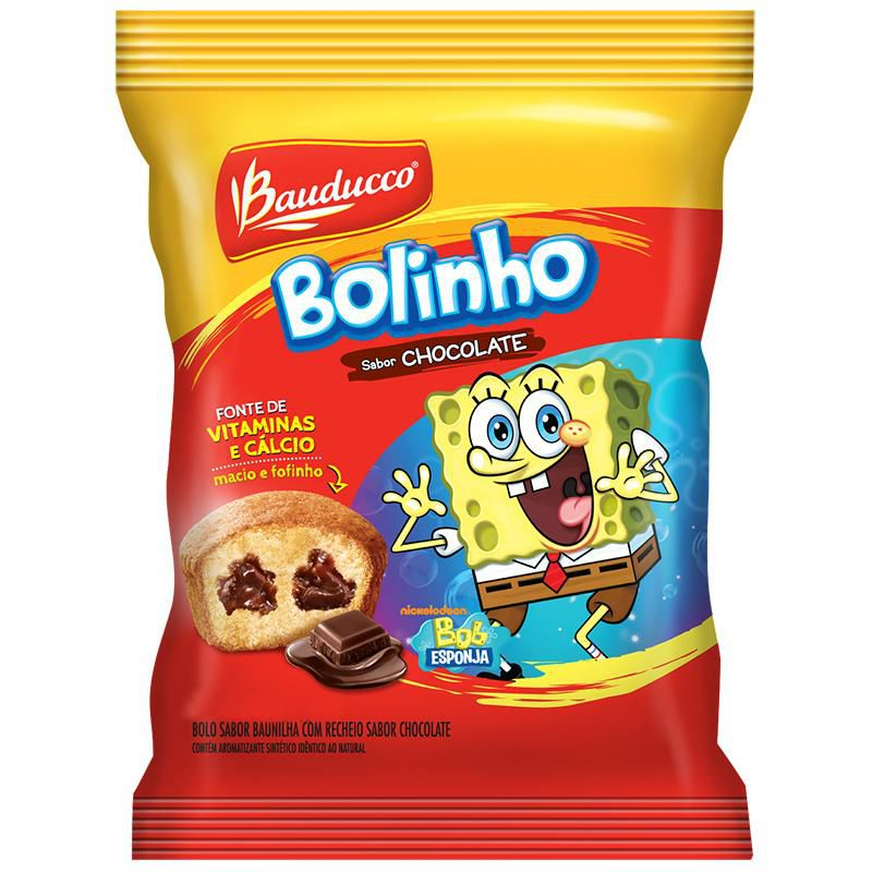 BOLINHO BAUNILHA RECHEADO CHOCOLATE BAUDUCCO 30G CAIXA 14 UNIDADES