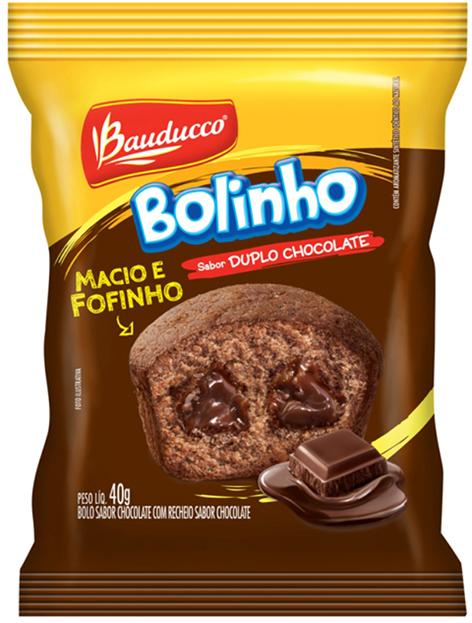 BOLINHO DUPLO CHOCOLATE RECHEADO CHOCOLATE BAUDUCCO 40G 14UN